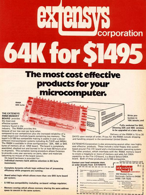 "Preview of old computer magazine ad: ""64K for $1495″"
