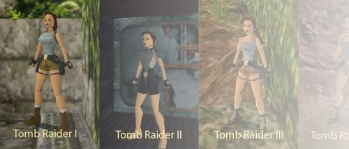 Preview image showing the evolution of Lara Croft.