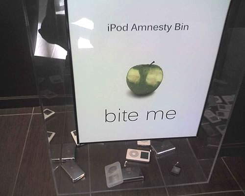 """iPod Amnesty Bin"" at Zune headquarters"