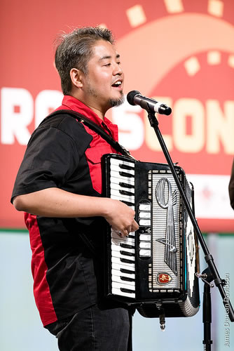 Joey deVilla playing accordion onstage at RailsConf 2007
