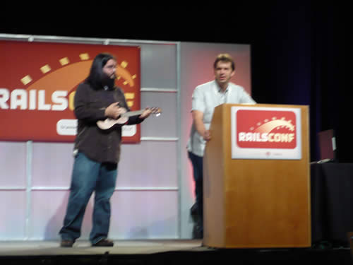 Chad Fowler plays ukelele at RailsConf