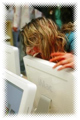 Zombie biting iMac at the San Francisco Apple Store.