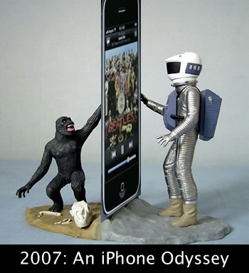 "Photo: ""2007: An iPhone Odyssey"", featuring and ape and Bowman from the movie, touching an iPhone monolith"