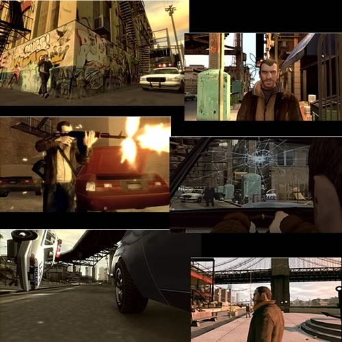 Scenes from the new Grand Theft Auto IV Trailer.