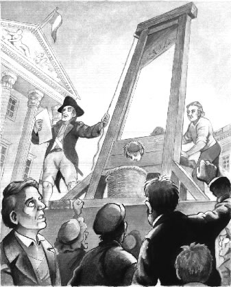Crowd gathering around a guillotine execution
