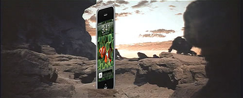 "Photo: ""The Dawn of Man"" scene from ""2001″, with an iPhone replacing the monolith"