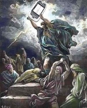 Moses wielding a cell phone