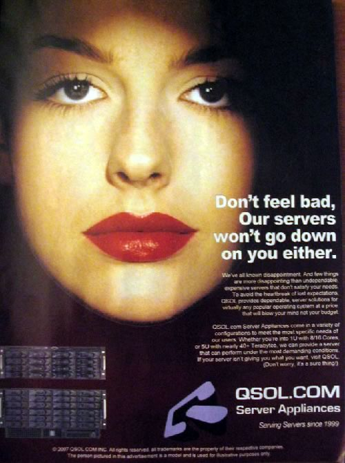 "QSOL ad with a beautiful woman: ""Don't feel bad. Our servers won't go down on you either"""