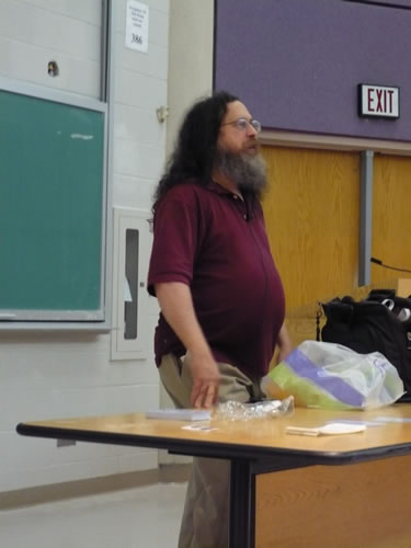 Richard M. Stallman making his presentation at the Kaneff Centre, University of Toronto Mississauga Campus