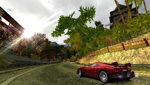 "Screenshot of ""Burnout Dominator"" on the PSP"