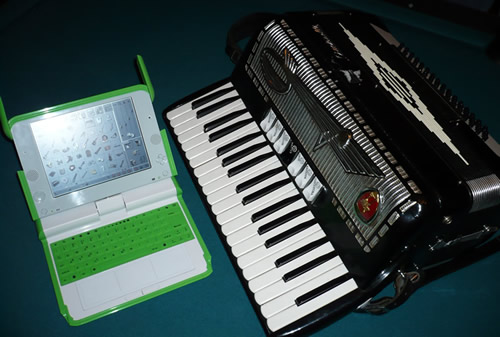 OLPC beside my accordion.