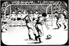 "Soccer game as depicted in the ""The Usborne Guide to Computer and Video Games""."