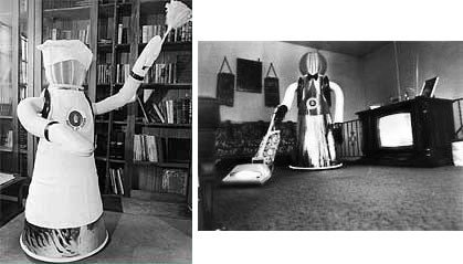 Two photos of the Quasar robot, purportedly doing housekeeping.