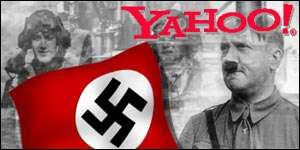 Yahoo logo with swastika flag and Hitler