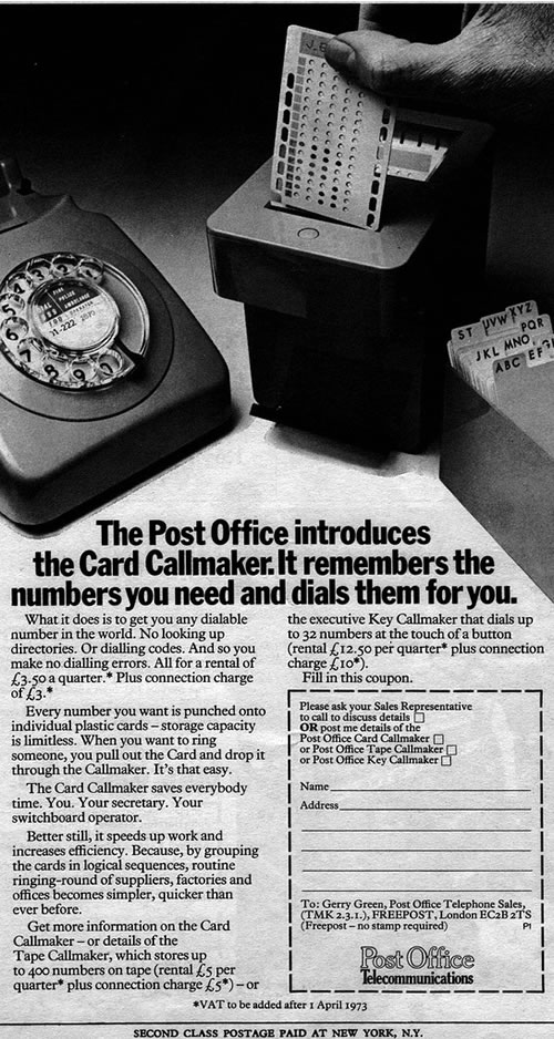 """1973 ad for the """"Card Callmaker"""", a punch-card-driven phone number memory system."""