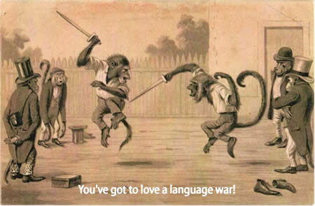 "Woodcutting of two monkeys with knives fighting, captioned ""You've got to love a language war!"""