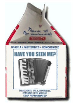 """""""Missing"""" announcement on a milk carton featuring an accordion"""