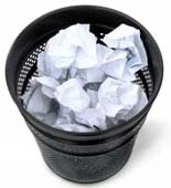 Wastebasket full of paper