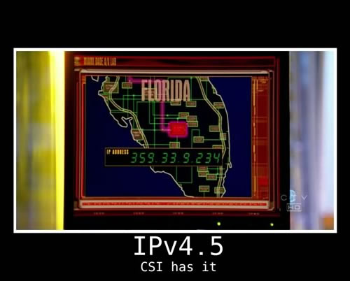 "IP address displayed on a screen on the TV show ""CSI"": 359.33.9.234"