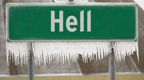 "Sign for ""Hell"" with icicles hanging from it."