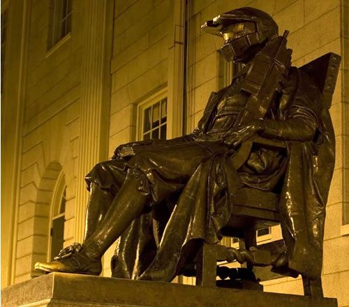 Statue of John Harvard, modded to give him Master Chief's helmet and gun.