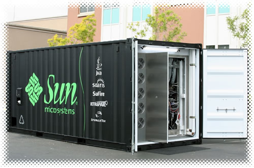 "A ""Project Blackbox"" container with its doors open, revealing the computing center inside."