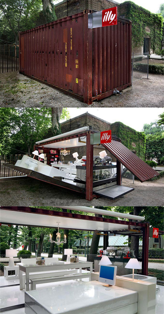 Shipping container that converts into an Illy Cafe.