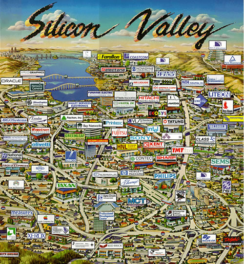 Stylized map of Silicon Valley showing logos of prominent tech companies