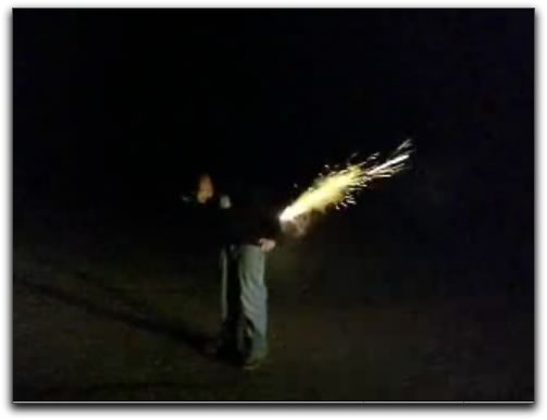 Guy with roman candle up his butt