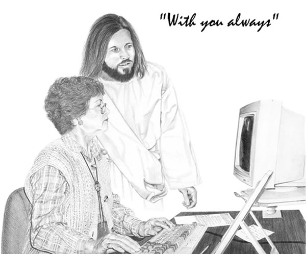 Jesus and secretary working together at a terminal