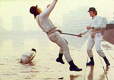 "Alex fighting the other Droogs in ""A Clockwork Orange"""