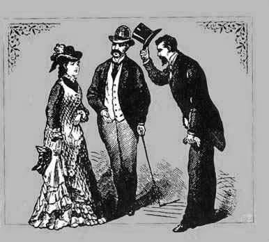 Woodcutting of a gentleman tipping his hat to a lady.