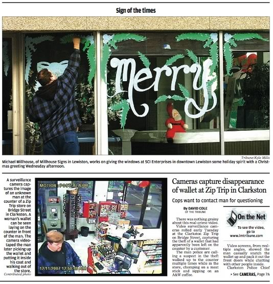 Snippet of the front page of the Lewiston Tribune featuring two photos for different stories, but with the same guy in each.