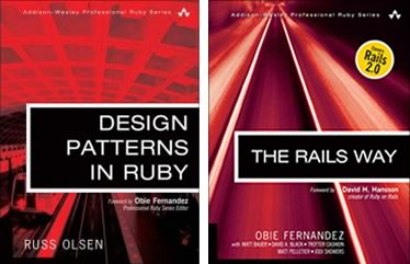 "Covers of ""Design Patterns in Ruby"" and ""The Rails Way"""