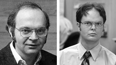 A younger Donald Knuth and Rainn Wilson, side by side.