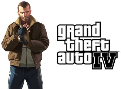 Grand Theft Auto IV protagonist and logo.
