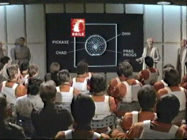 "Rebel pilot briefing from ""Star Wars: A New Hope"", with some Rails-specific changes made to the display of the Death Star"