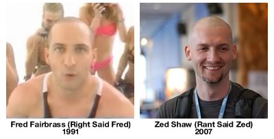 Fred Fairbrass and Zed Shaw, side by side. The resemblance is uncanny!