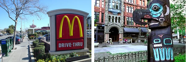 McDonald's on El Camino Real and totem pole at Pioneer Square
