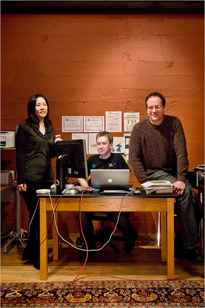 Jenny Lam, Hillel Cooperman and Walter Smith of the software company Jackson Fish Market.