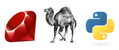 Ruby ruby, Perl camel and Python logo