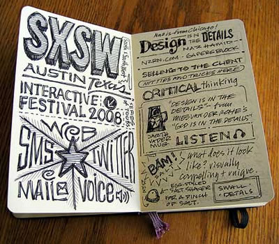 Mike Rohdes' moleskine notebook from SxSW