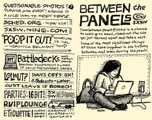 Between the Panels pages from Mike Rohdes' SxSW notes