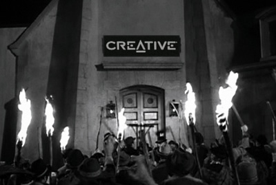 Villagers with pitchforks storming the Creative Labs castle