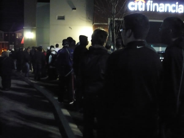 Midnight line for GTA IV outside the EB Games at Runnymede and St. Clair, Toronto