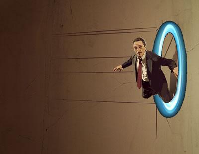Christopher Walken emerging from a portal