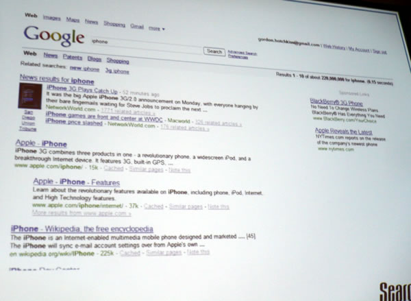 "Google results for ""iPhone\"" on June 10, 2008."
