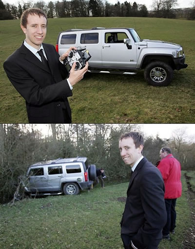 """Before and after\"" photos of a radio-controlled Hummer mishap"