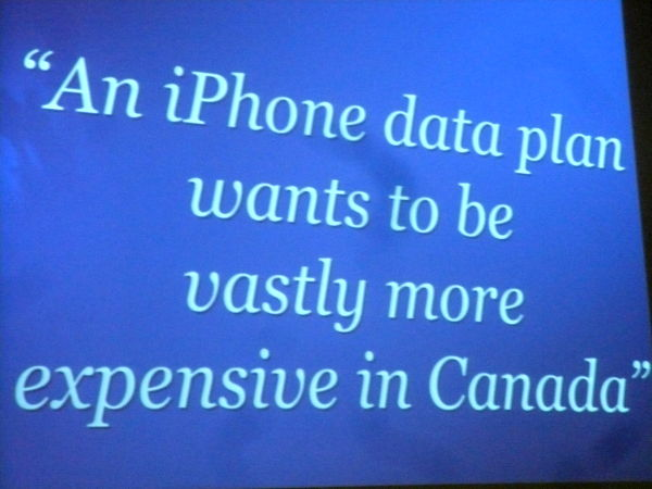 "Slide from Damian Conway\'s presentation: ""An iPhone data plan wants to be vastly more expensive in Canada\"""