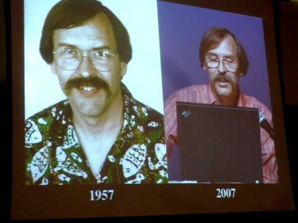 """Larry Wall does not age\"" slide from Damian Conway\'s presentation"